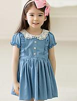 Недорогие -Дети Девочки Милая Симпатичные Стиль Однотонный С короткими рукавами Выше колена Платье Синий