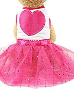 cheap -Dog Dress Dog Clothes Fuchsia Pink Costume Husky Golden Retriever Dalmatian Cotton Voiles & Sheers Bowknot Crystal / Rhinestone Stylish Sweet Style XS S M L XL
