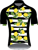 cheap -21Grams Men's Short Sleeve Cycling Jersey Black / White Fruit Lemon Bike Jersey Top Mountain Bike MTB Road Bike Cycling UV Resistant Breathable Quick Dry Sports Clothing Apparel / Stretchy / Race Fit