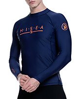 cheap -HISEA® Men's Diving Rash Guard Top UV Sun Protection Breathable Quick Dry Long Sleeve Swimming Snorkeling Patchwork Autumn / Fall Spring Winter