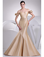 cheap -Mermaid / Trumpet Elegant Gold Engagement Formal Evening Dress Sweetheart Neckline Short Sleeve Court Train Taffeta with Sash / Ribbon 2020