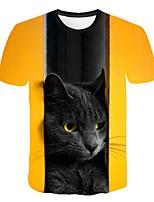 Недорогие -Жен. 3D Животное Кот С принтом Футболка Классический Уличный стиль Повседневные Спорт Желтый