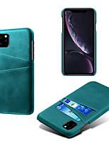 Недорогие -чехол для телефона iphone11 / iphone11 pro / iphone11 pro max держатель карты против падения задняя крышка сплошной цвет искусственная кожа