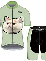cheap -21Grams Men's Short Sleeve Cycling Jersey with Shorts Black / Green Cat Animal Bike Clothing Suit UV Resistant Breathable Quick Dry Sweat-wicking Sports Cat Mountain Bike MTB Road Bike Cycling