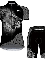 cheap -21Grams Women's Short Sleeve Cycling Jersey with Shorts Black / White Geometic Animal Lion Bike Clothing Suit Breathable Quick Dry Ultraviolet Resistant Sweat-wicking Sports Geometic Mountain Bike