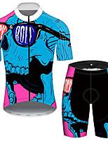 Недорогие -21Grams Муж. С короткими рукавами Велокофты и велошорты Черный / синий Новинки Черепа Велоспорт Наборы одежды Устойчивость к УФ Дышащий 3D-панель Быстровысыхающий Со светоотражающими полосками