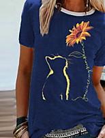 cheap -Women's Floral Print T-shirt Daily Wine / Black / Blue / Green
