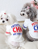 cheap -Dog Costume Shirt / T-Shirt Dog Clothes Breathable Red Blue Costume Beagle Bichon Frise Chihuahua Cotton Quotes & Sayings Casual / Sporty Cute XS S M L XL
