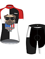 cheap -21Grams Women's Short Sleeve Cycling Jersey with Shorts Black / Red Dog Animal American / USA Bike Clothing Suit Breathable Quick Dry Ultraviolet Resistant Sweat-wicking Sports Dog Mountain Bike MTB