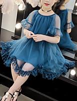 Недорогие -Дети Девочки Симпатичные Стиль Уличный стиль Пэчворк Кружева Оборки Сетка С короткими рукавами Платье Розовый