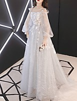 cheap -A-Line Sparkle Grey Party Wear Prom Dress Spaghetti Strap Long Sleeve Floor Length Polyester with Sequin Appliques 2020