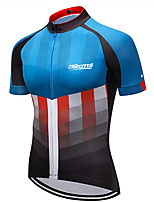 cheap -21Grams Men's Short Sleeve Cycling Jersey Black / Blue American / USA National Flag Bike Jersey Top Mountain Bike MTB Road Bike Cycling UV Resistant Breathable Quick Dry Sports Clothing Apparel