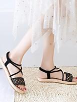 cheap -Women's Sandals Flat Sandal 2020 Spring &  Fall / Spring & Summer Flat Heel Open Toe Casual Sweet Daily Beach PU Almond / White / Black