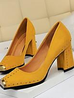 Недорогие -Жен. Обувь на каблуках На толстом каблуке Квадратный носок Замша Весна лето Верблюжий / Желтый / Красный