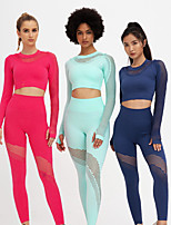 cheap -Women's 2pcs Yoga Suit Cut Out Solid Color Black Red Light Green Running Fitness Gym Workout High Waist Tights Crop Top Long Sleeve Sport Activewear Quick Dry Butt Lift Tummy Control High Elasticity