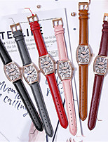 cheap -Quartz Watches Casual Fashion Genuine Leather Quartz Blushing Pink Red Brown Water Resistant / Waterproof 30 m Analog One Year Battery Life