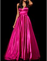 Недорогие -А-силуэт На тонких бретелях В пол Полиэстер минималист / Розовый Обручение / Выпускной Платье с холеный 2020