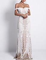 Недорогие -блесток русалка труба блестящие вырезать с коротким рукавом с плеча развертки кисти поезд спандекс вечернее платье выпускного вечера