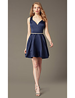 cheap -A-Line Flirty Minimalist Homecoming Cocktail Party Dress Sweetheart Neckline Sleeveless Short / Mini Stretch Satin with Sash / Ribbon Crystals 2020