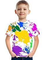 Недорогие -Дети Мальчики Активный Уличный стиль Контрастных цветов 3D С принтом С короткими рукавами Футболка Цвет радуги