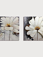 cheap -Hand Painted Canvas Oilpainting Abstract Flowers Set of 2 Home Decoration with Frame Painting Ready to Hang