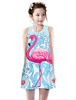 Недорогие -Дети Девочки Классический Симпатичные Стиль Фламинго Геометрический принт Животное Мультипликация С принтом Без рукавов До колена Платье Светло-синий