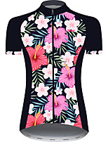 cheap -21Grams Women's Short Sleeve Cycling Jersey Pink+Green Floral Botanical Bike Jersey Top Mountain Bike MTB Road Bike Cycling UV Resistant Breathable Quick Dry Sports Clothing Apparel / Stretchy