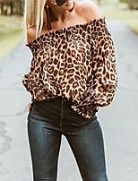 Недорогие -Жен. Леопард Плиссировка С принтом Футболка Повседневные С открытыми плечами Коричневый