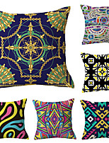 cheap -6 pcs Polyester Pillow Cover, Art Deco Floral Print Simple Classic Square Traditional Classic