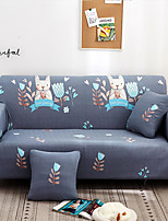 cheap -Grey Cartoon Elk Print Dustproof All-powerful Slipcovers Stretch Sofa Cover Super Soft Fabric Couch Cover with One Free Pillow Case