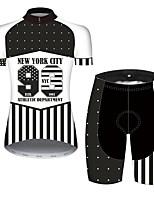 Недорогие -21Grams Жен. С короткими рукавами Велокофты и велошорты Черный / Белый Американский / США Звезды Флаги Велоспорт Наборы одежды / Слабоэластичная / Быстровысыхающий / Дышащий / Горные велосипеды