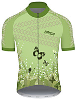 cheap -21Grams Men's Short Sleeve Cycling Jersey Green Butterfly Floral Botanical Bike Jersey Top Mountain Bike MTB Road Bike Cycling UV Resistant Breathable Quick Dry Sports Clothing Apparel / Stretchy