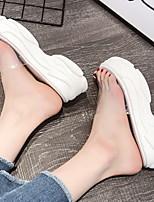 Недорогие -Жен. Тапочки и Шлепанцы На плоской подошве Круглый носок Полиуретан Весна лето Белый