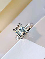 cheap -3 carat Synthetic Diamond Ring Silver For Women's Square Cut Ladies Luxury Elegant Bridal Wedding Party Evening Formal High Quality Big 1pc