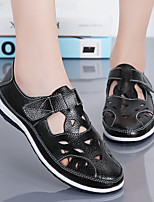 cheap -Women's Sandals Flat Sandals 2020 Leather Sandals Fall / Spring & Summer Flat Heel Round Toe Casual Daily Solid Colored Cowhide Walking Shoes Camel / White / Black