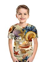 Недорогие -Дети Мальчики Активный Уличный стиль Геометрический принт 3D Пэчворк Плиссировка С принтом С короткими рукавами Блуза Цвет радуги