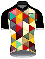 cheap -21Grams Men's Short Sleeve Cycling Jersey Black / Yellow Plaid / Checkered Patchwork Gradient Bike Jersey Top Mountain Bike MTB Road Bike Cycling UV Resistant Breathable Quick Dry Sports Clothing
