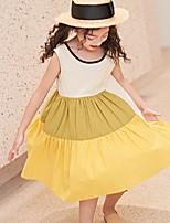 Недорогие -Дети Девочки Контрастных цветов Кружева Без рукавов Платье Желтый