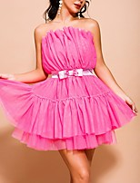 cheap -A-Line Hot Pink Homecoming Cocktail Party Dress Strapless Sleeveless Short / Mini Polyester with Bow(s) Ruffles Tier 2020