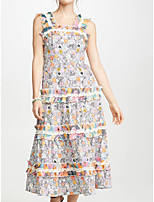 cheap -Sheath / Column Floral Maxi Holiday Prom Dress Scalloped Neckline Sleeveless Ankle Length Polyester with Pattern / Print 2020