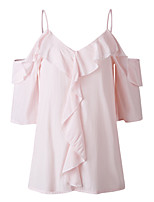 cheap -Women's Going out Weekend Sexy EU / US Size Blouse - Solid Colored Dusty Rose, Cut Out Off Shoulder Blushing Pink
