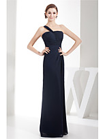 cheap -Sheath / Column Elegant Minimalist Wedding Guest Formal Evening Dress One Shoulder Sleeveless Floor Length Chiffon with Ruched 2020