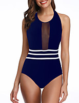 cheap -Women's One Piece Swimsuit Padded Swimwear Bodysuit Swimwear Dark Navy Black Breathable Quick Dry Comfortable Sleeveless - Swimming Surfing Water Sports Summer / Stretchy