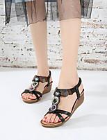 cheap -Women's Sandals Wedge Sandals Summer Wedge Heel Open Toe Daily PU Camel / Black