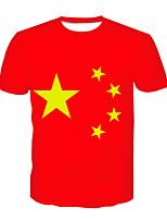 cheap -Kids Boys' Basic Chinoiserie Color Block 3D Print Short Sleeve Tee Red