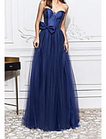 cheap -Sheath / Column Elegant Blue Engagement Formal Evening Dress Strapless Sleeveless Sweep / Brush Train Tulle with Bow(s) 2020