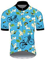 Недорогие -21Grams Муж. С короткими рукавами Велокофты Синий Цветочные ботанический Велоспорт Джерси Верхняя часть Горные велосипеды Шоссейные велосипеды Устойчивость к УФ Дышащий Быстровысыхающий Виды спорта