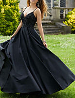 cheap -Ball Gown Sexy Black Party Wear Prom Dress V Neck Sleeveless Floor Length Jersey with Pleats Beading 2020