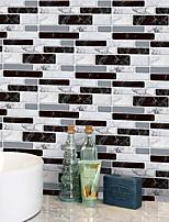 Недорогие -20x10cmx9pcs черно-белые мраморные наклейки на стены ретро маслостойкие водонепроницаемые плитки обои для кухни ванная комната первый этаж украшения дома