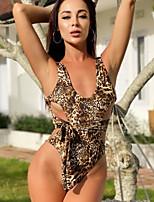 cheap -Women's Basic Brown Halter Cheeky One-piece Swimwear Swimsuit - Leopard Backless S M L Brown